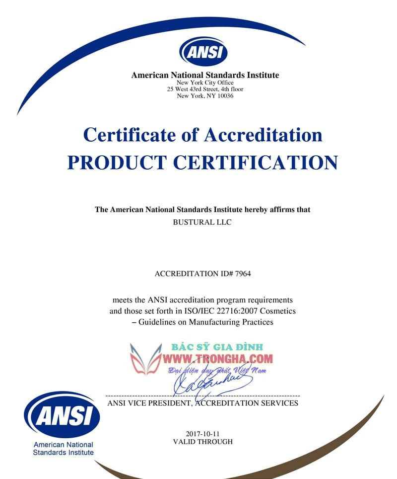 ANSI Certificate