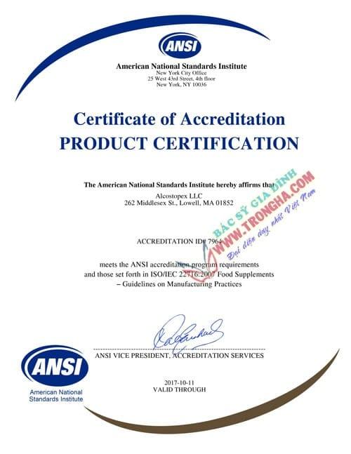 certificate Alcostopex
