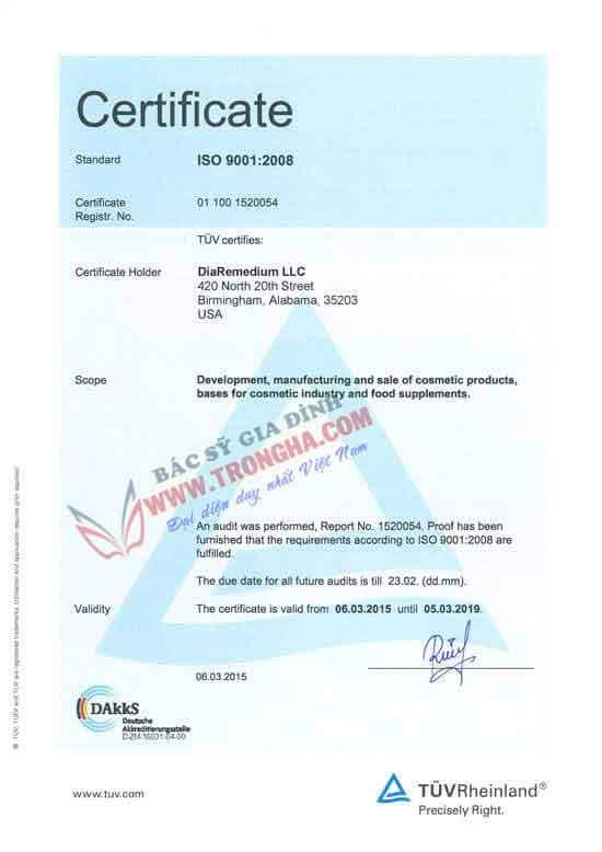 DiaRemedium ISO 9001-2008