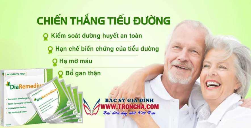 DiaRemedium miếng dán điều trị bệnh tiểu đường hiệu quả
