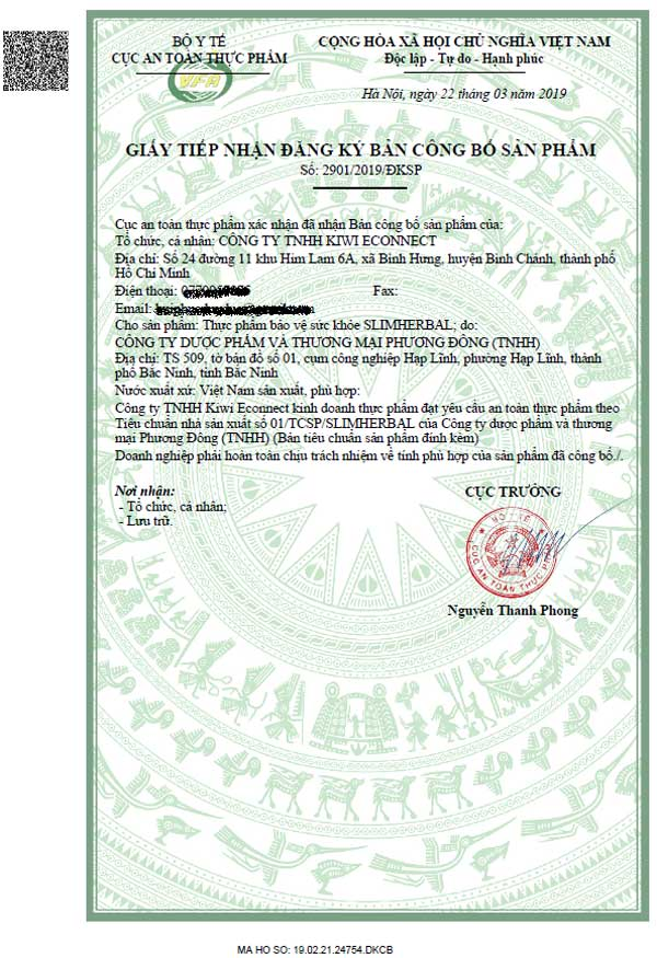 giấy phép công bố slimherbal